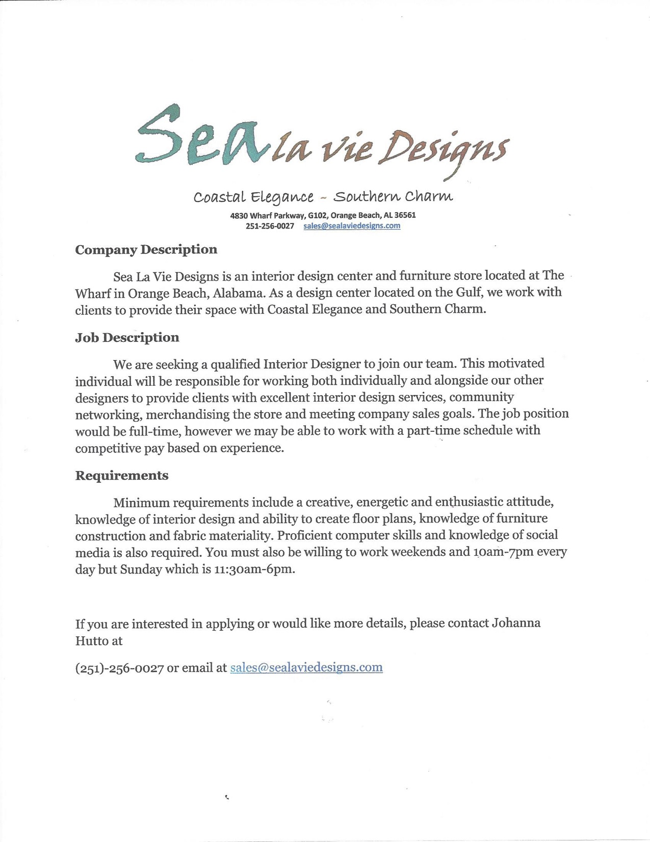 Sea La Vie Designs At The Wharf In Orange Beach Alabama An Interior Designer Position