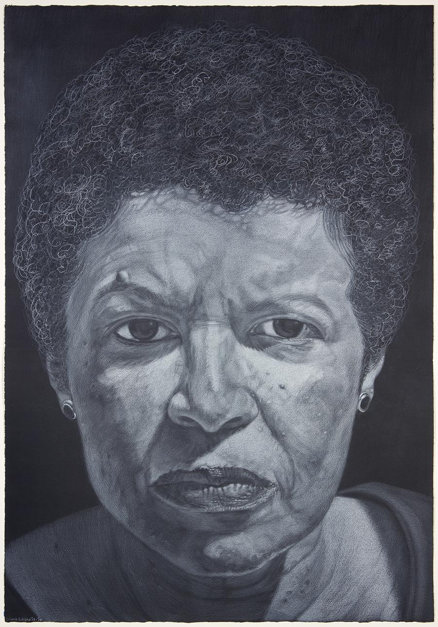 Daphne Blackburn, gray color pencil on black paper