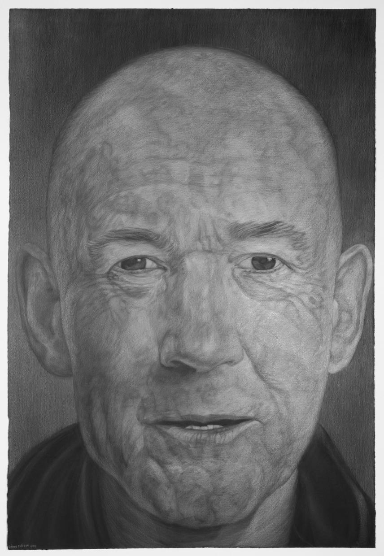 Geoff Hendrics, gray color pencil on black paper