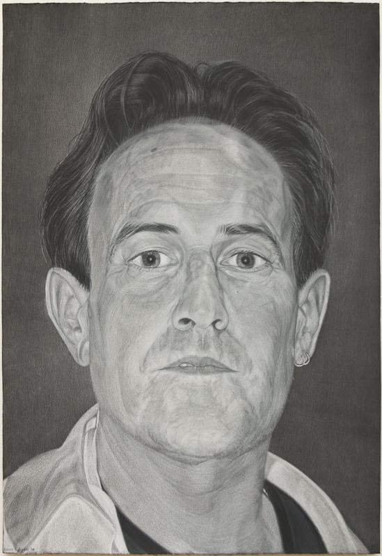 Jim Barness, gray color pencil on black paper
