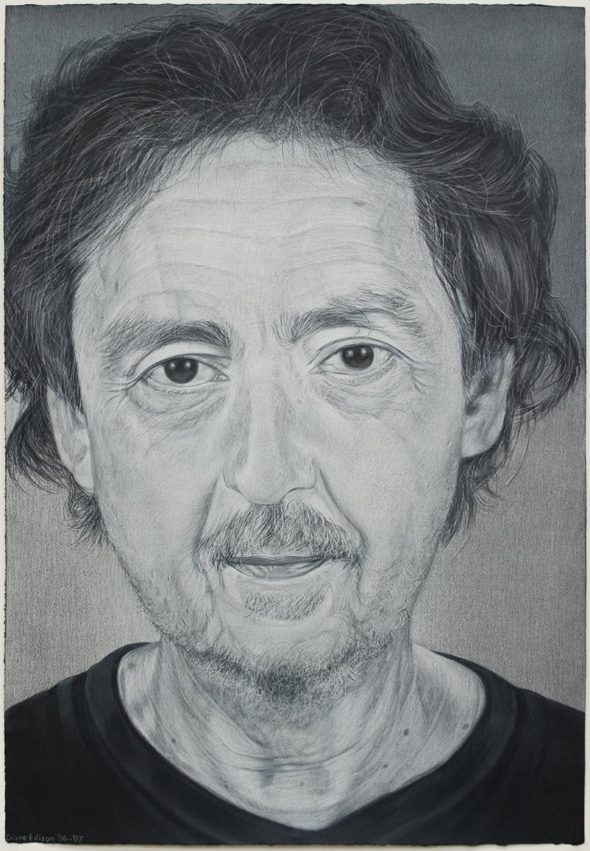 Luis Cruz Azaceta, gray color pencil on black paper