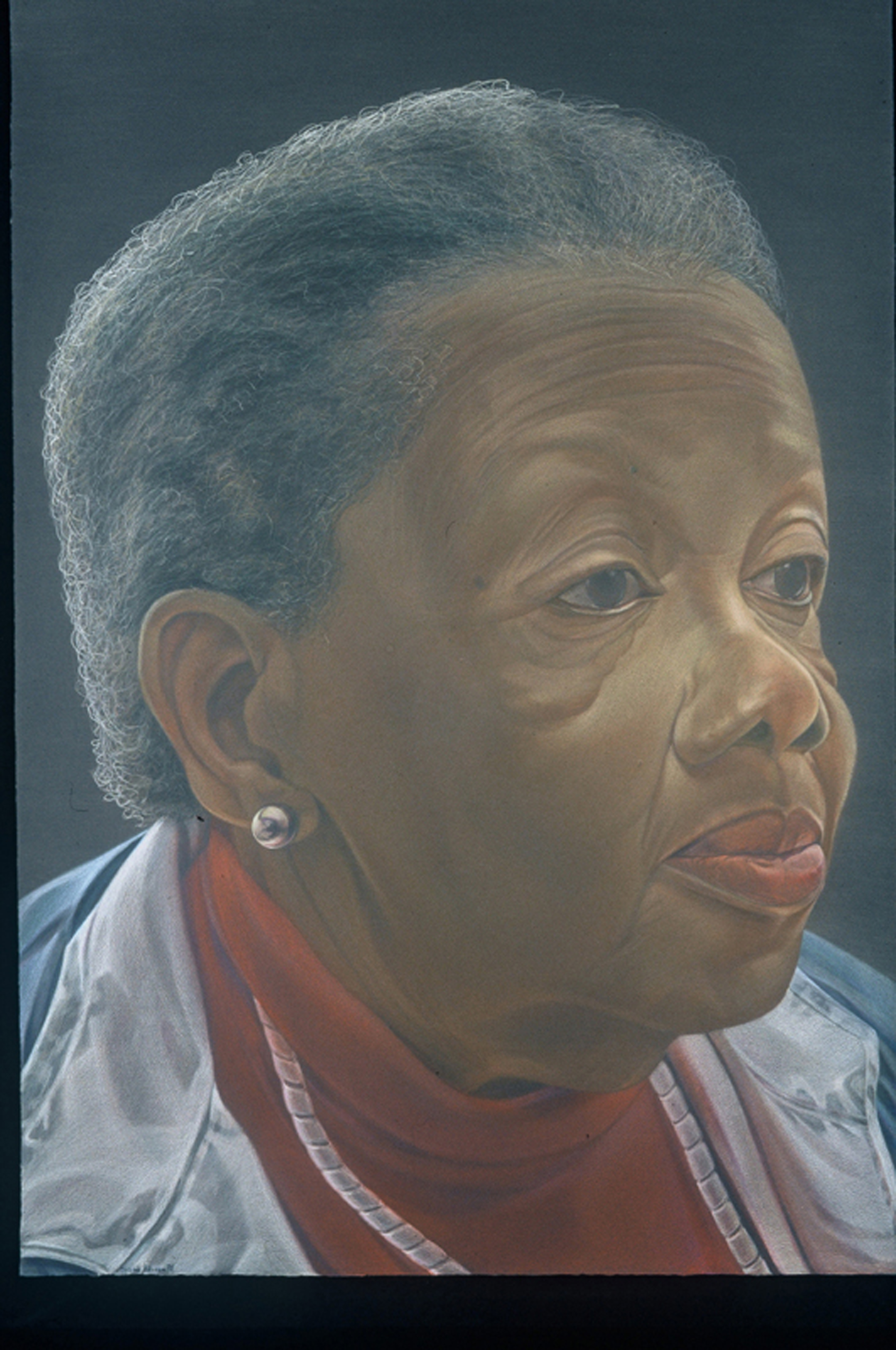 Mom at 75, color pencil on black paper