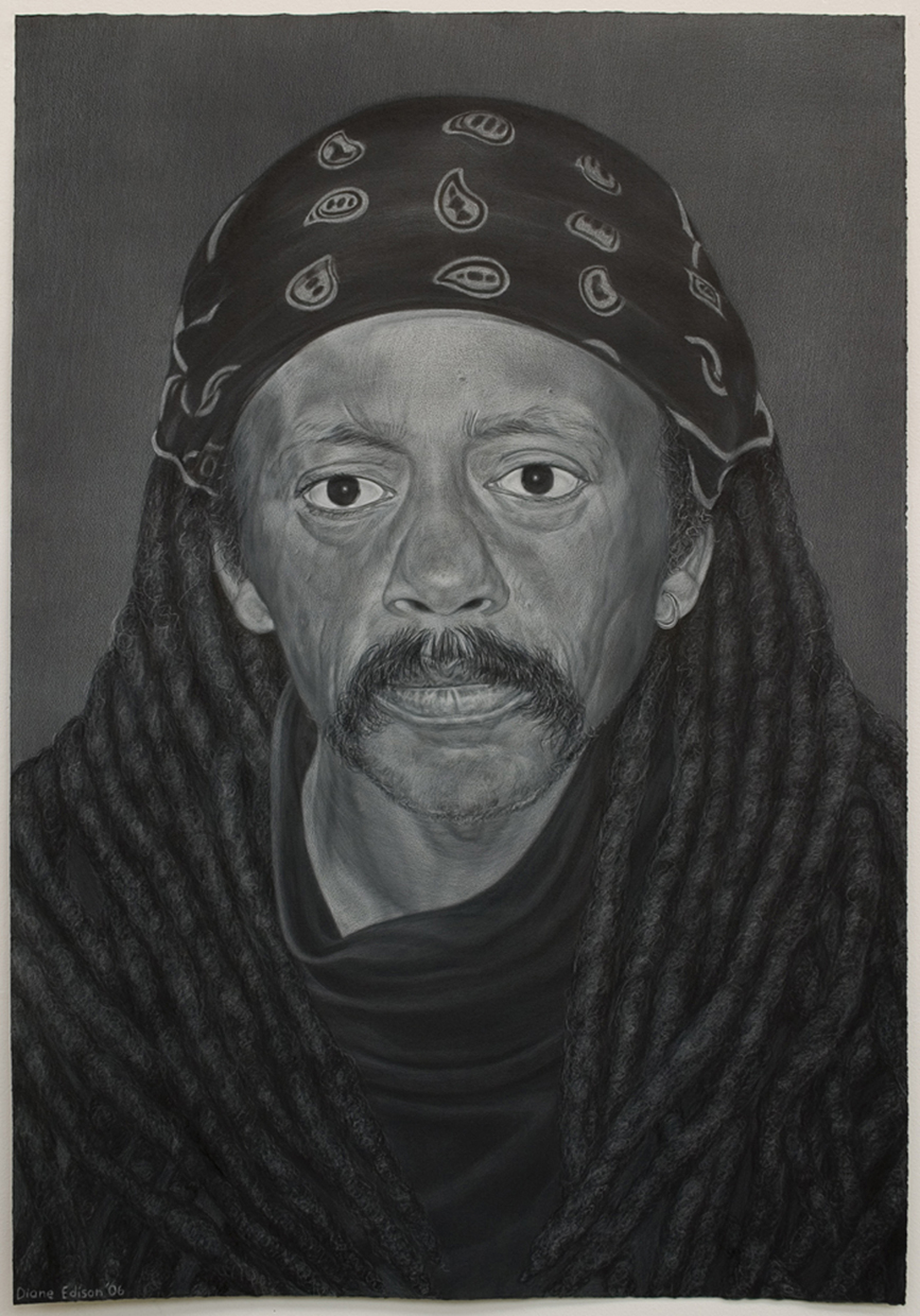 My Brother, gray color pencil on black paper