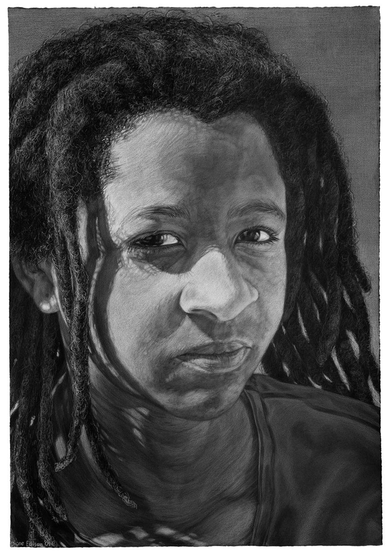Rebecca at 14, gray color pencil on black paper