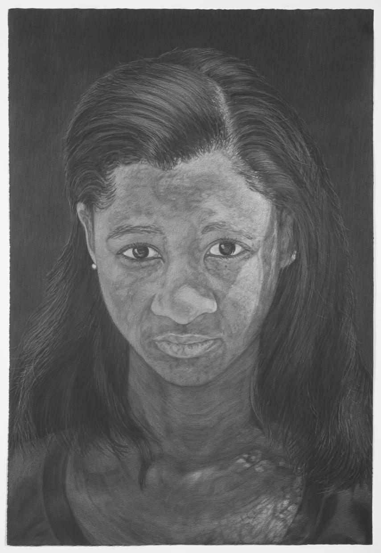Rebecca at 19, gray color pencil on black paper