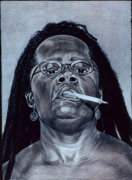 "Self Portrait ""Close, but no cigar"", gray color pencil on black paper"