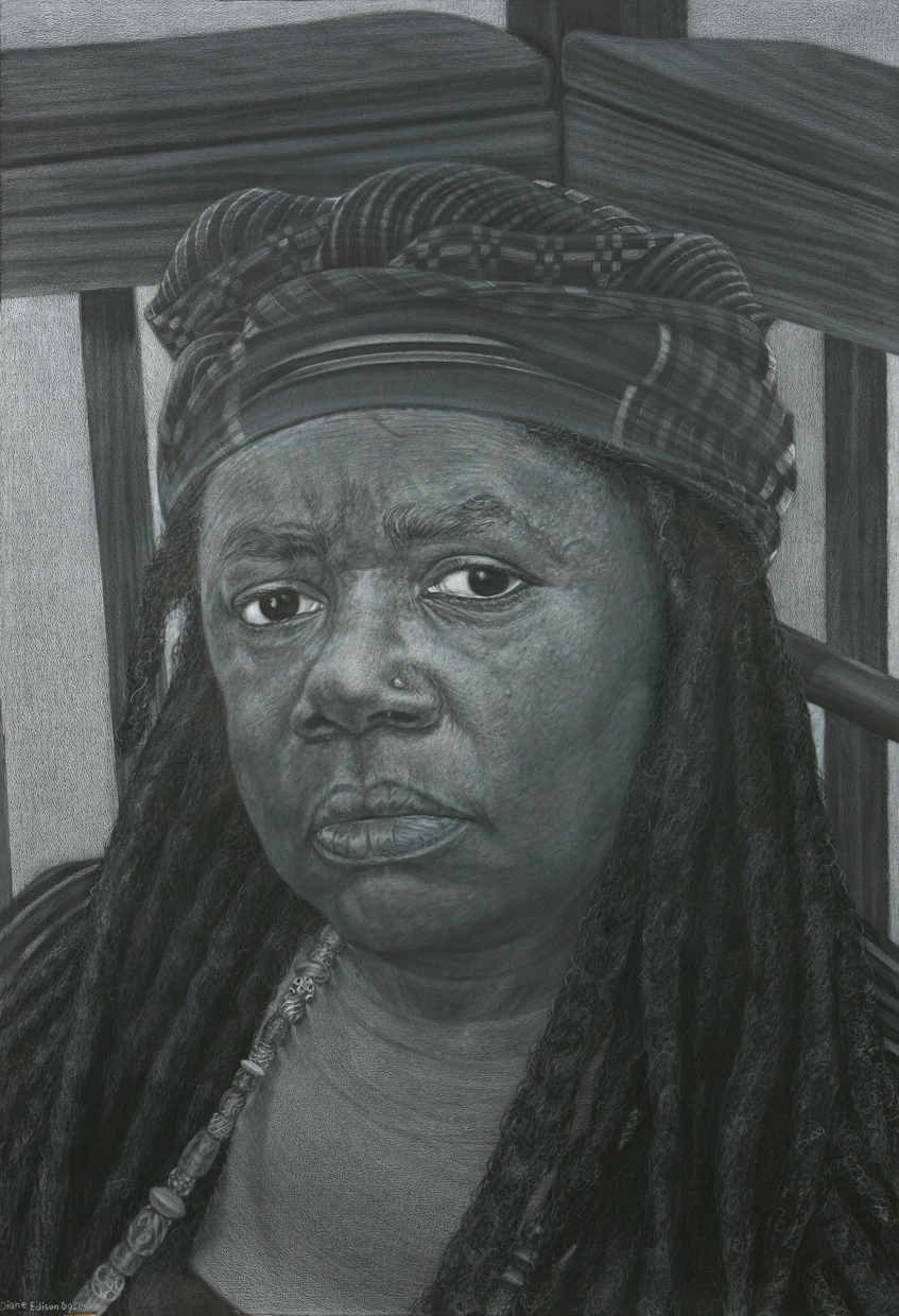 Self Portrait in Kente Cloth, gray color pencil on black paper