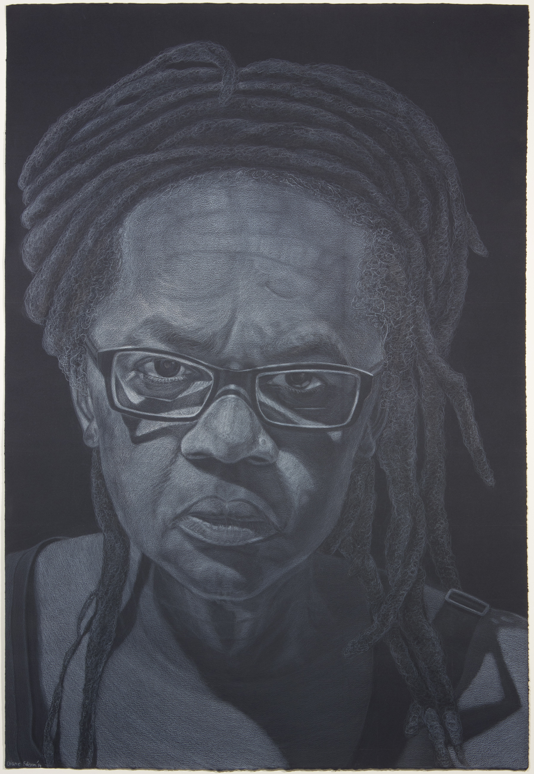 """Self Portrait """"What I See"""", gray color pencil on black paper"""