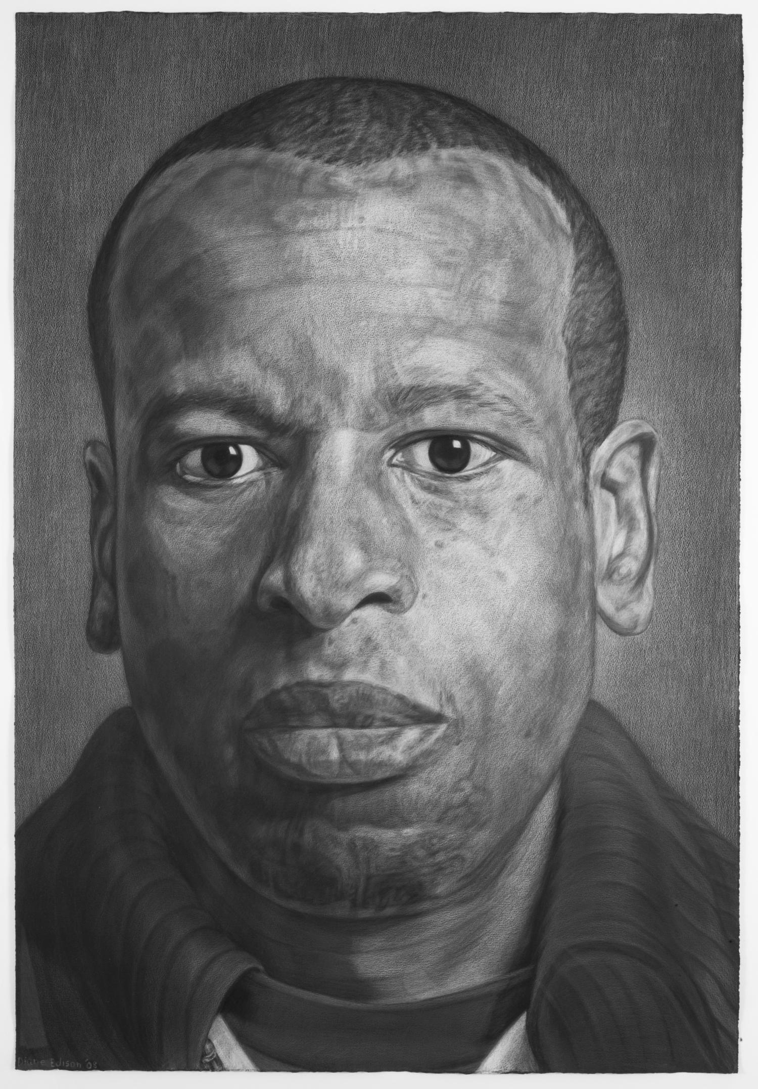 Sur Rodney Sur, gray color pencil on black paper