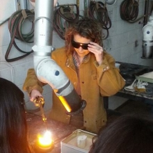 Mary Pearse working in metal shop