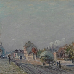 "Alfred Sisley's ""Une Rue à Marly"" (1876), one of the paintings gifted to the museum.  Credit Courtesty of the High Museum of Art"