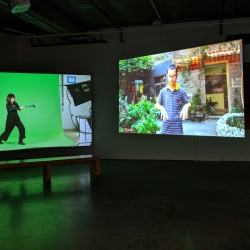Installation view of Xin Xin's exhibition Labor in a Single Shot at the Dodd Galleries at the University of Georgia in Athens.