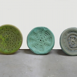 "Bonnie Rychlak, ""Morphed Florida Drains,"" 2012-13, hand carved cast wax, approx 4"" x 22"""