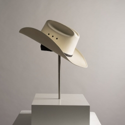 Lauren O'Connor Korb, White Hat (Floor model), Cowboy hat, stainless steel, components 22x14x15, 2019, Photographed by Stephanie Sutton