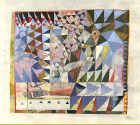Mary Gordon, Crazy Quilt, 2017, mixed media and collage on handmade paper, 12 x 12""