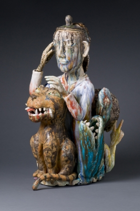 """Man with Mask"", 2009, Porcelain, Glazed, 21"" x 14"" x 11"