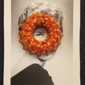 Kim Truesdale, Fed Up #1, 2018, polymer clay, gel, and acrylic on found photograph