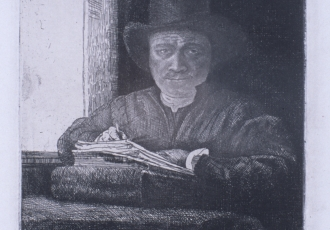 "John Stockton de Martelly (American, 1903 – 1979), ""Rembrandt at a Window,"" 1929. Etching. Georgia Museum of Art, University of Georgia; The Mullis Collection, Gift of Carl and Marian Mullis in honor of their son Carl W. Mullis, IV, class of '01 GMOA. 2001.93"