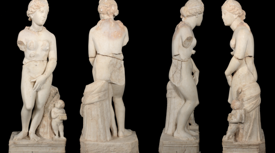 First statue of Aphrodite, after reassembly, at The American Center of Oriental Research (ACOR), Amman, winter 2018. Now on public view at The Petra Museum, as of May 2019.