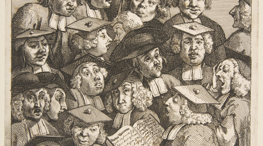 William Hogarth, Scholars at a Lecture, 1736, courtesy of Metropolitan Museum of Art Open Access Artworks