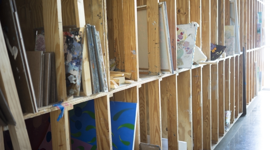 Students work sits in cubbies
