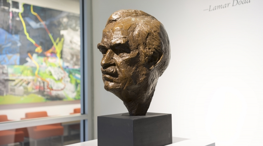 Bust of Lamar Dodd on display