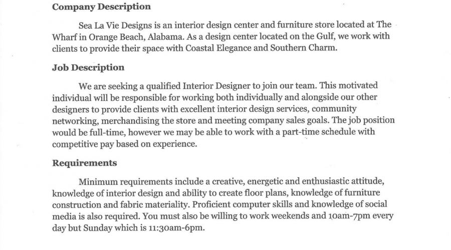 Sea La Vie Designs position description