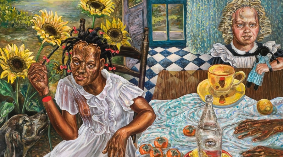 "Stefanie Jackson (American, b. 1958), ""Bluest Eye,"" 1999. Oil on canvas. Georgia Museum of Art, University of Georgia; The Larry D. and Brenda A. Thompson Collection of African American Art. GMOA."